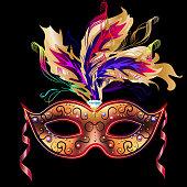 Mardi Gras mask isolated on black. Vector Venetian carnival mask