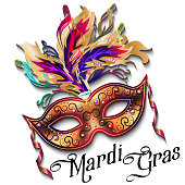 Mardi Gras mask isolated on white background, colorful poster