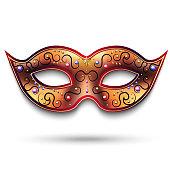 Mardi Gras mask isolated on white. Vector Venetian carnival mask