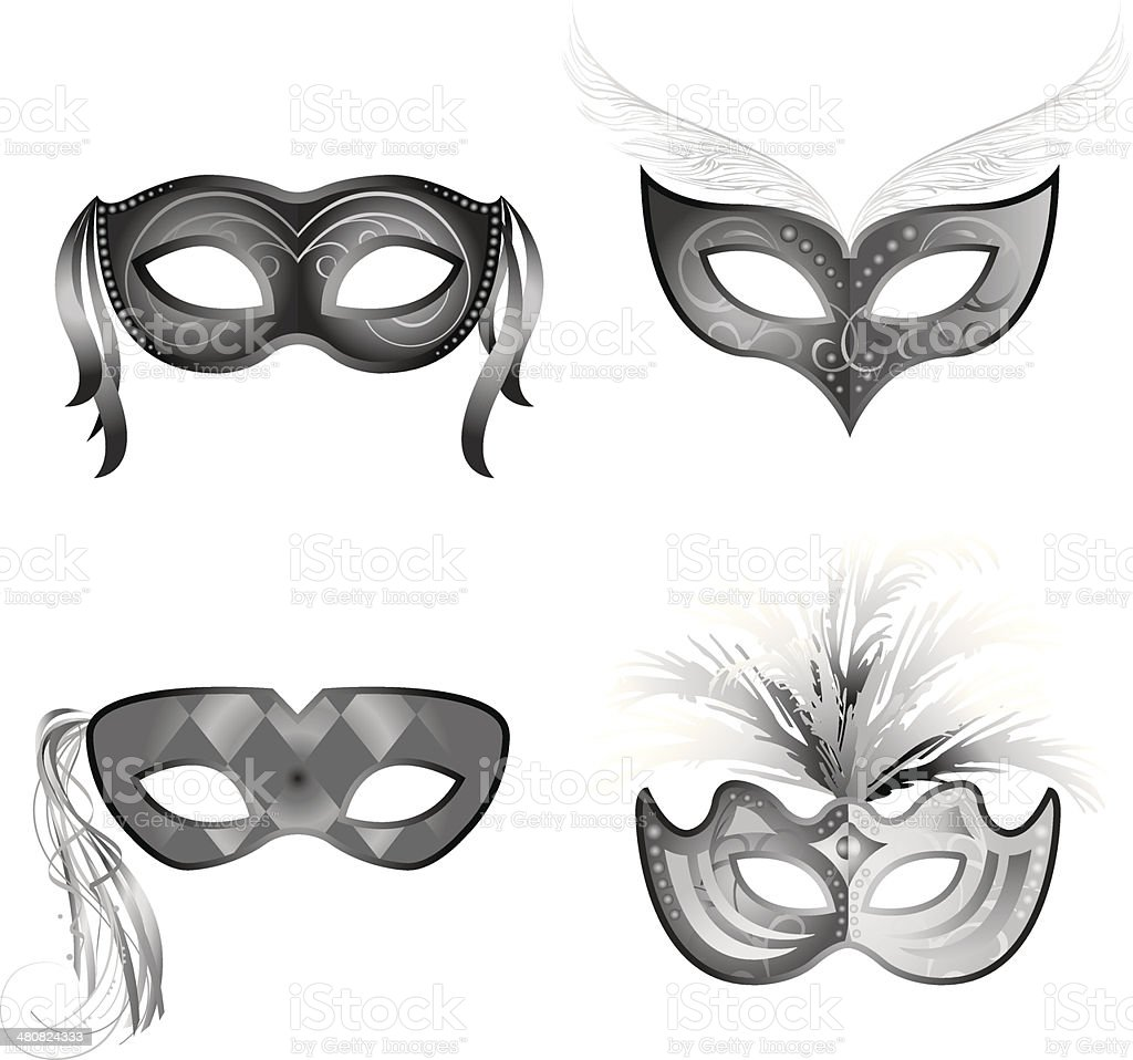 Mardi Gras Masks2 vector art illustration