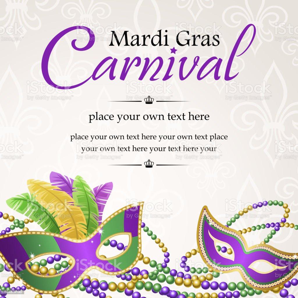 Mardi gras masquerade carnival vector art illustration