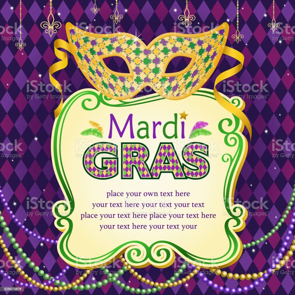Mardi Gras Masquerade Mask Place Card vector art illustration