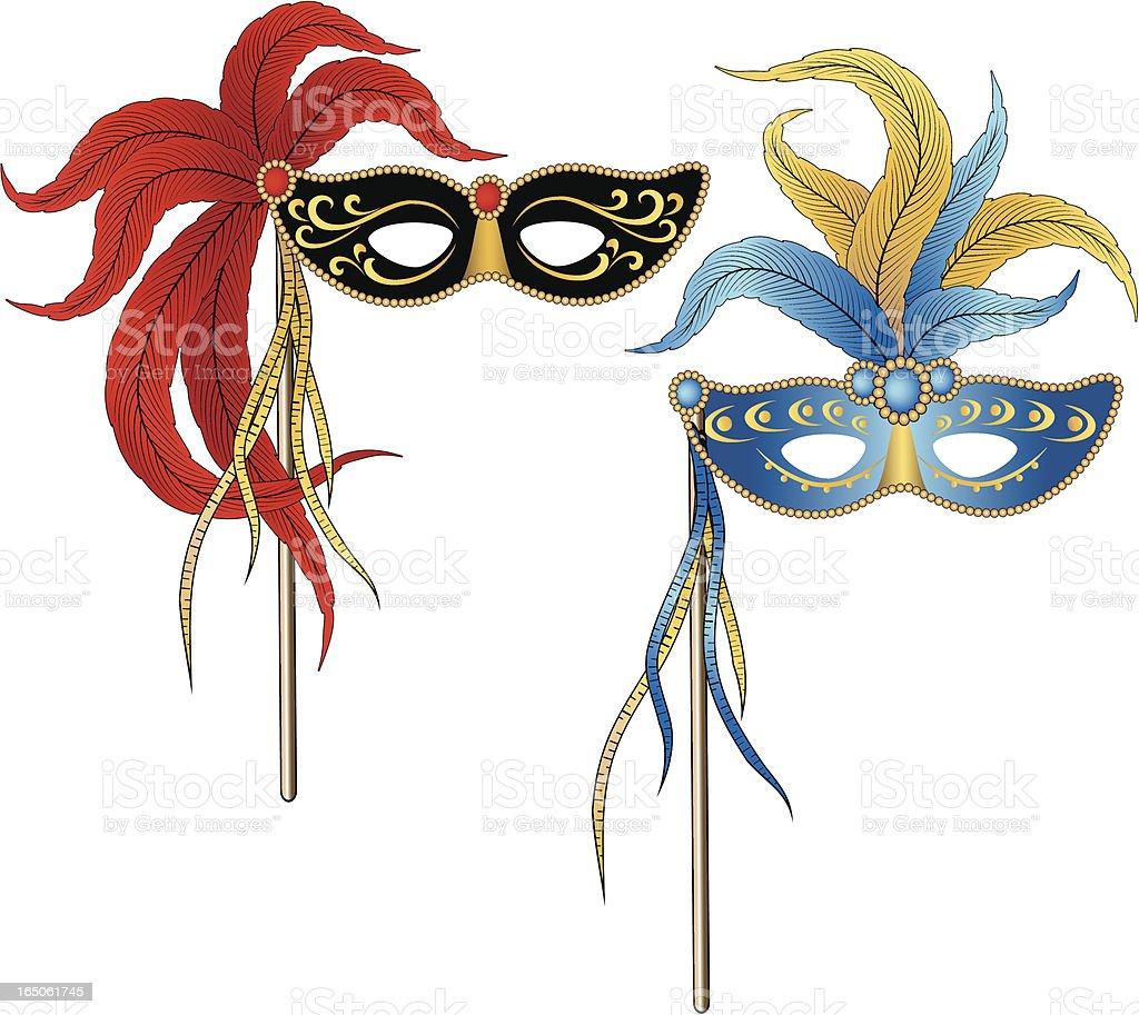 Mardi Gras Masquerade Party Masks royalty-free stock vector art