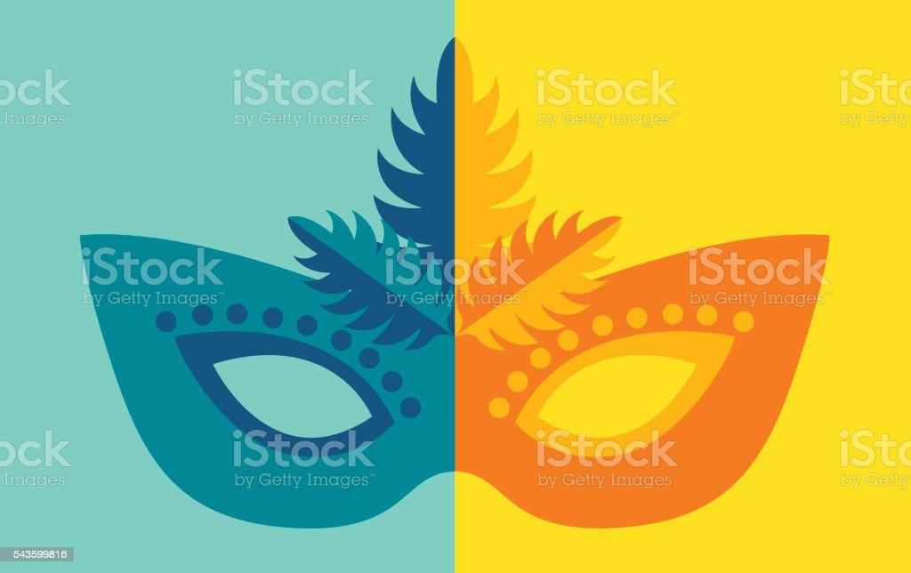 Mardi Gras or costume mask vector art illustration