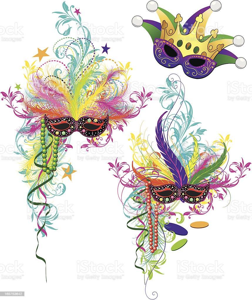 Mardi Gras Ornaments vector art illustration