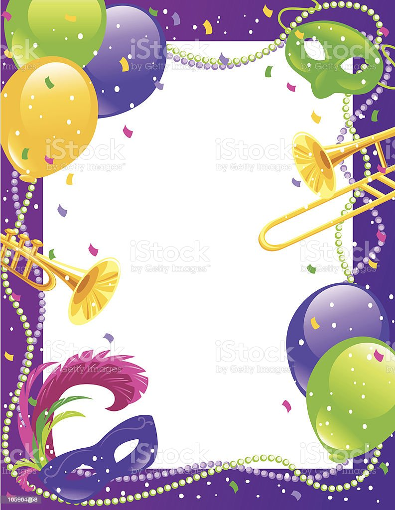 Mardi Gras Party Frame royalty-free stock vector art