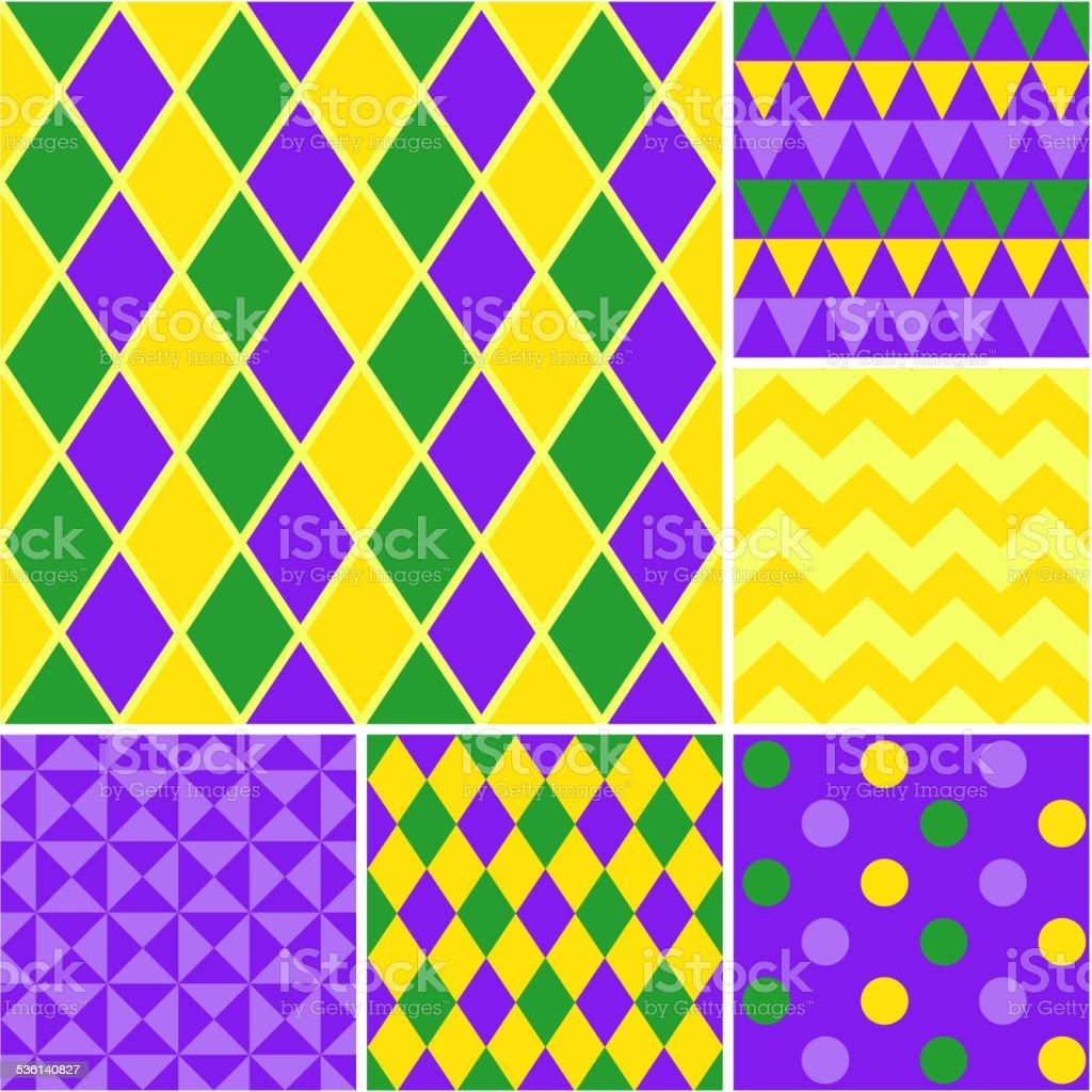 Mardi gras - seamless vector patterns collection vector art illustration