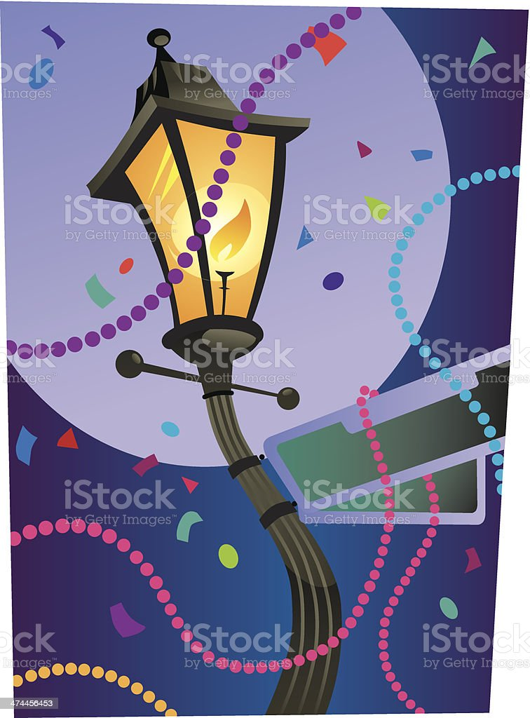 Mardi Gras Streetlight vector art illustration