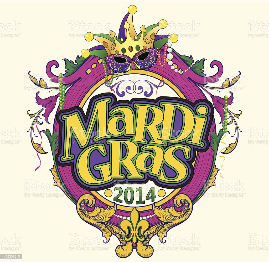 Mardi Gras Text Frame royalty-free stock vector art