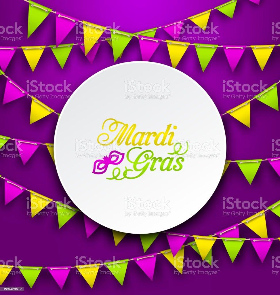 Mardi Gras Traditional Card, Bunting Background vector art illustration