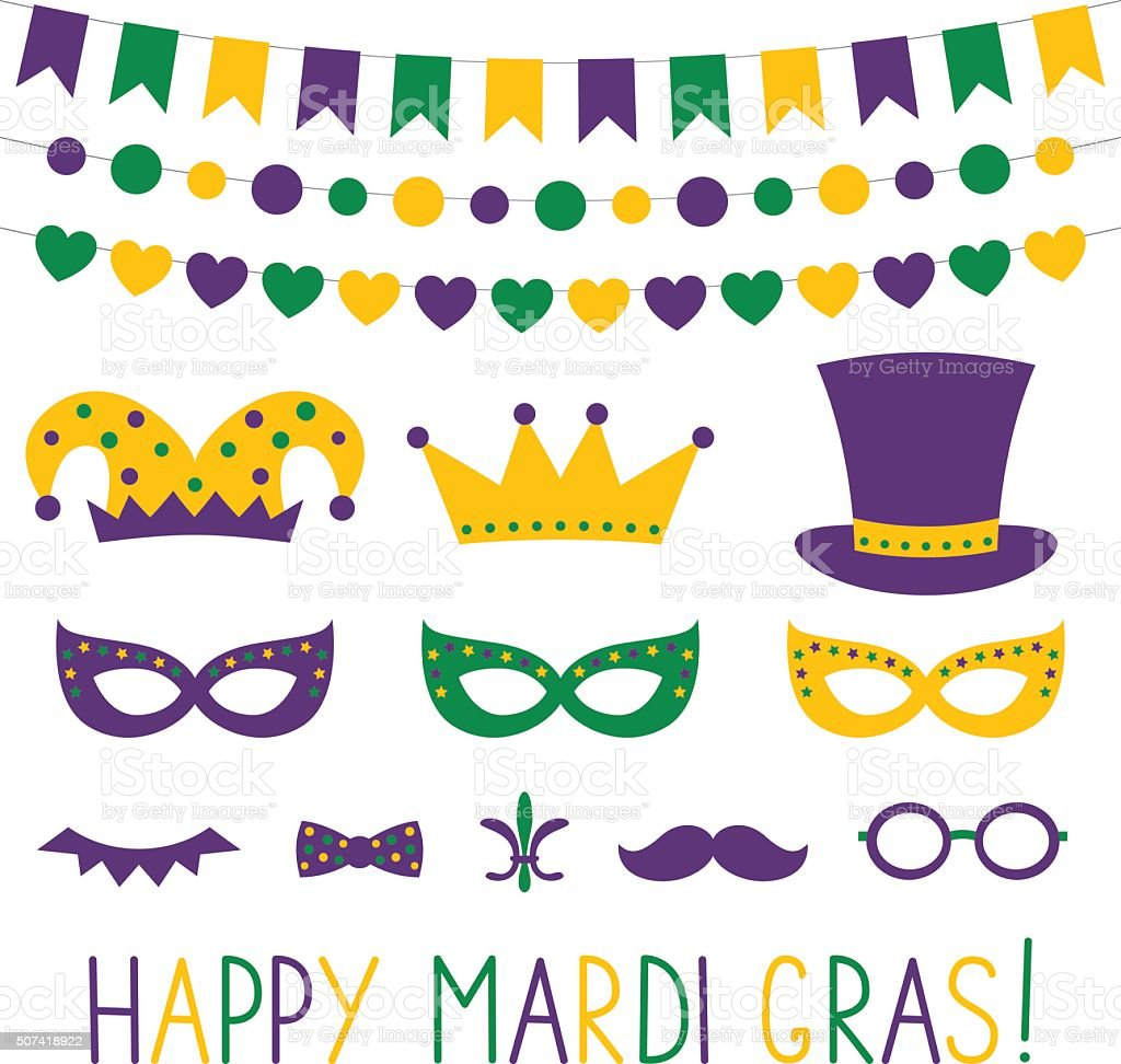 Mardi Gras vector decoration and photo booth props vector art illustration