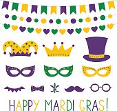 Mardi Gras vector decoration and photo booth props