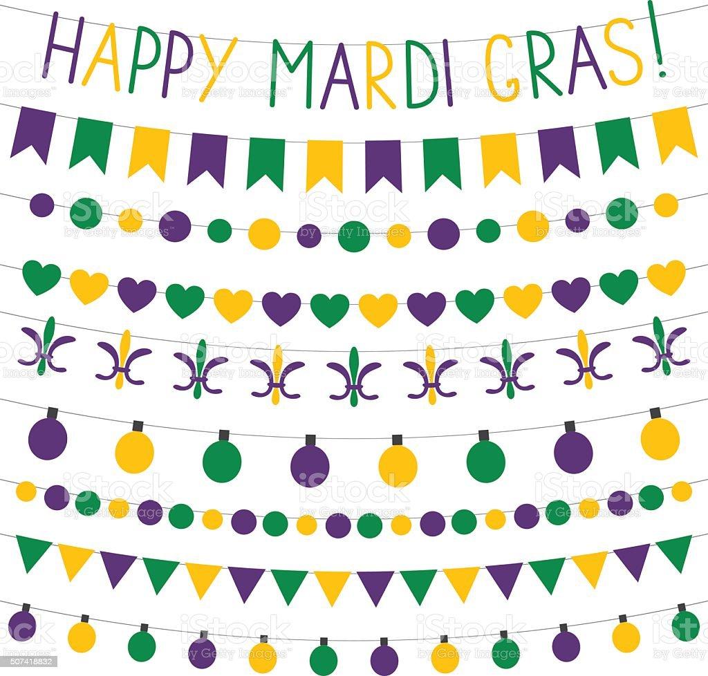 Mardi Gras vector decoration set vector art illustration