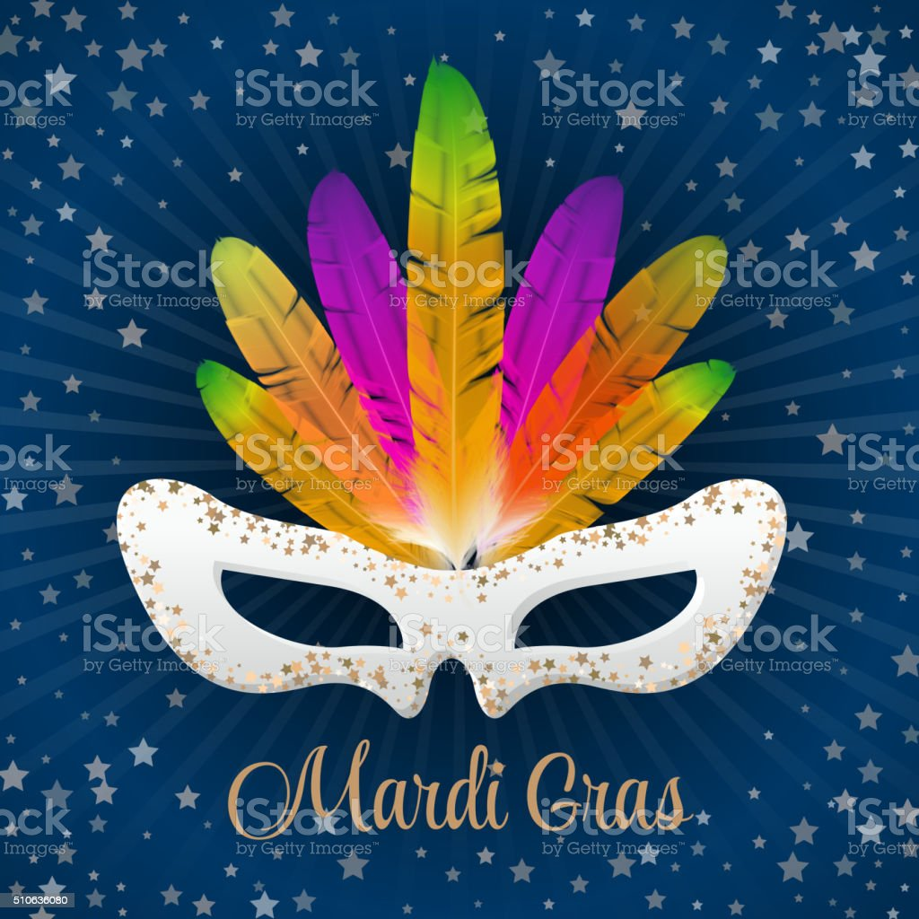 Mardi Gras vector mask with colorful feathers vector art illustration