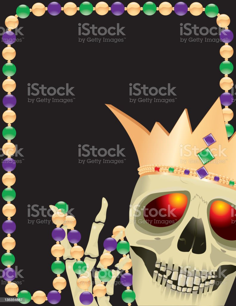 Mardi Gras Voodoo Skull with Crown royalty-free stock vector art