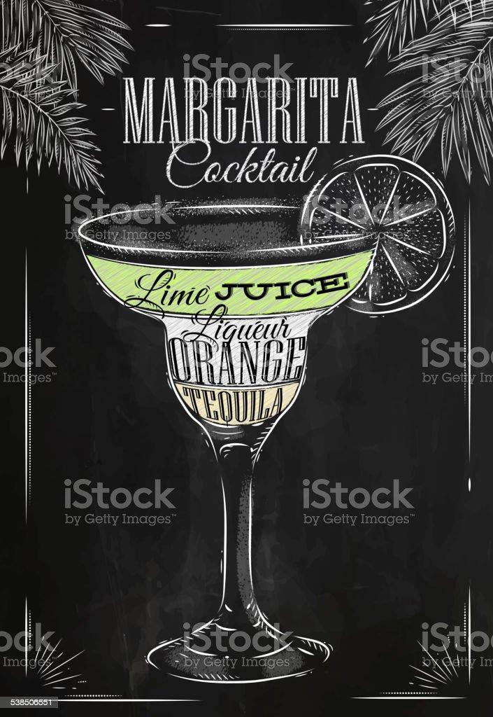 Margarita cocktail chalk vector art illustration