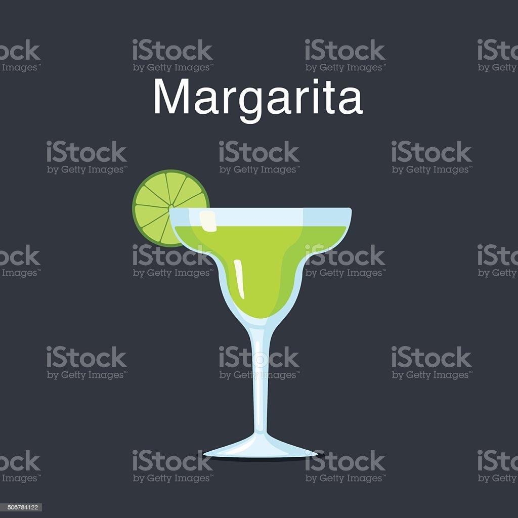 Margarita cocktail in a  glass vector art illustration