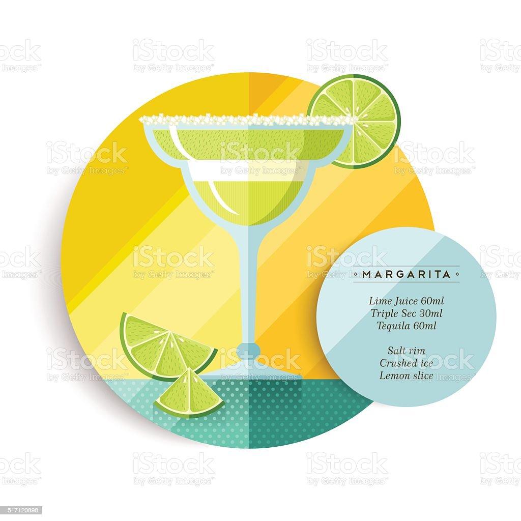 Margarita drink recipe menu for cocktail party vector art illustration