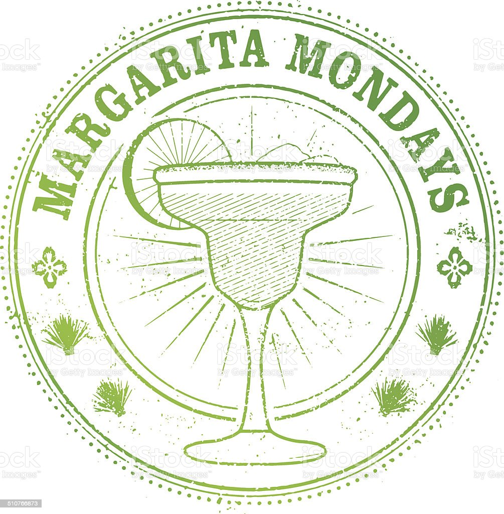Margarita Monday Stamp vector art illustration