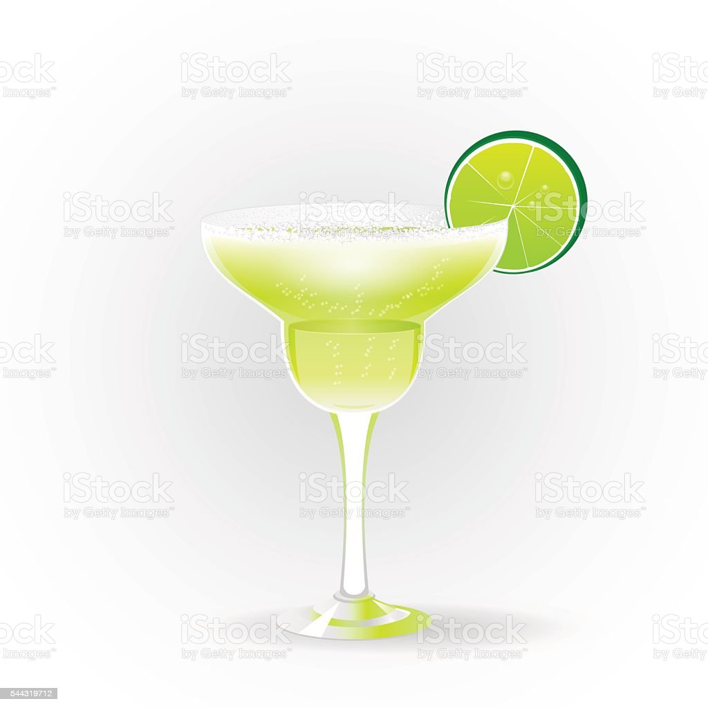 Margarita realistic cocktail vector art illustration
