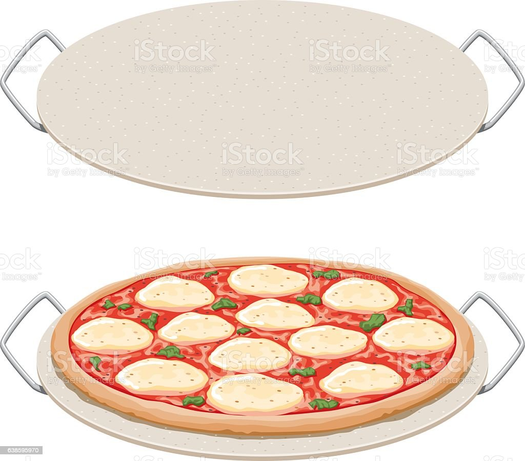 Margharita pizza on a ceramic pizza stone, side view vector art illustration