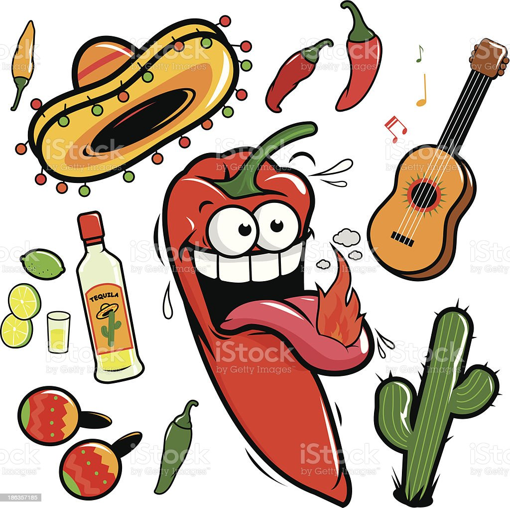 Mariachi chili pepper mexican icon collection royalty-free stock vector art