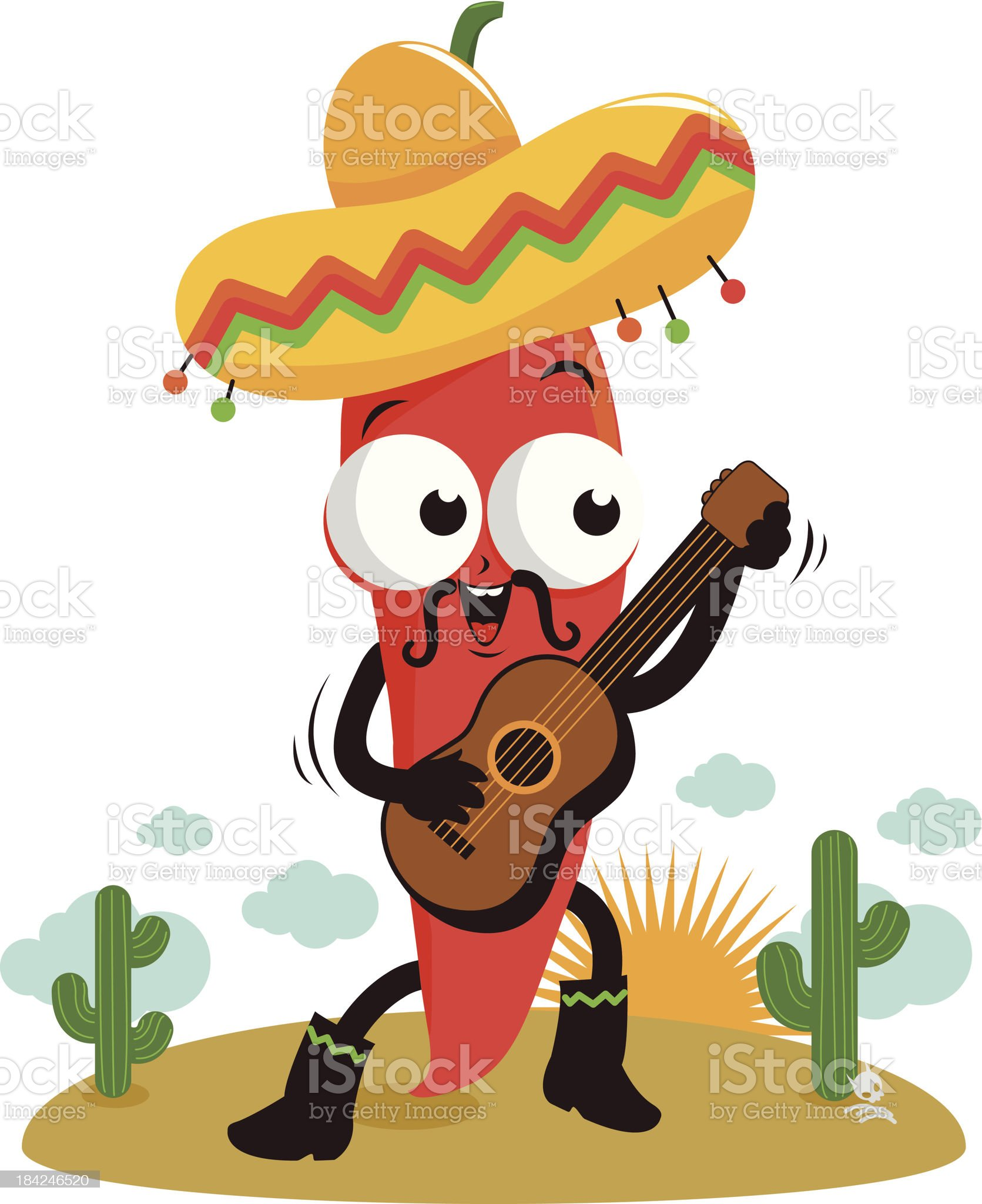 Mariachi chili pepper playing the guitar royalty-free stock vector art