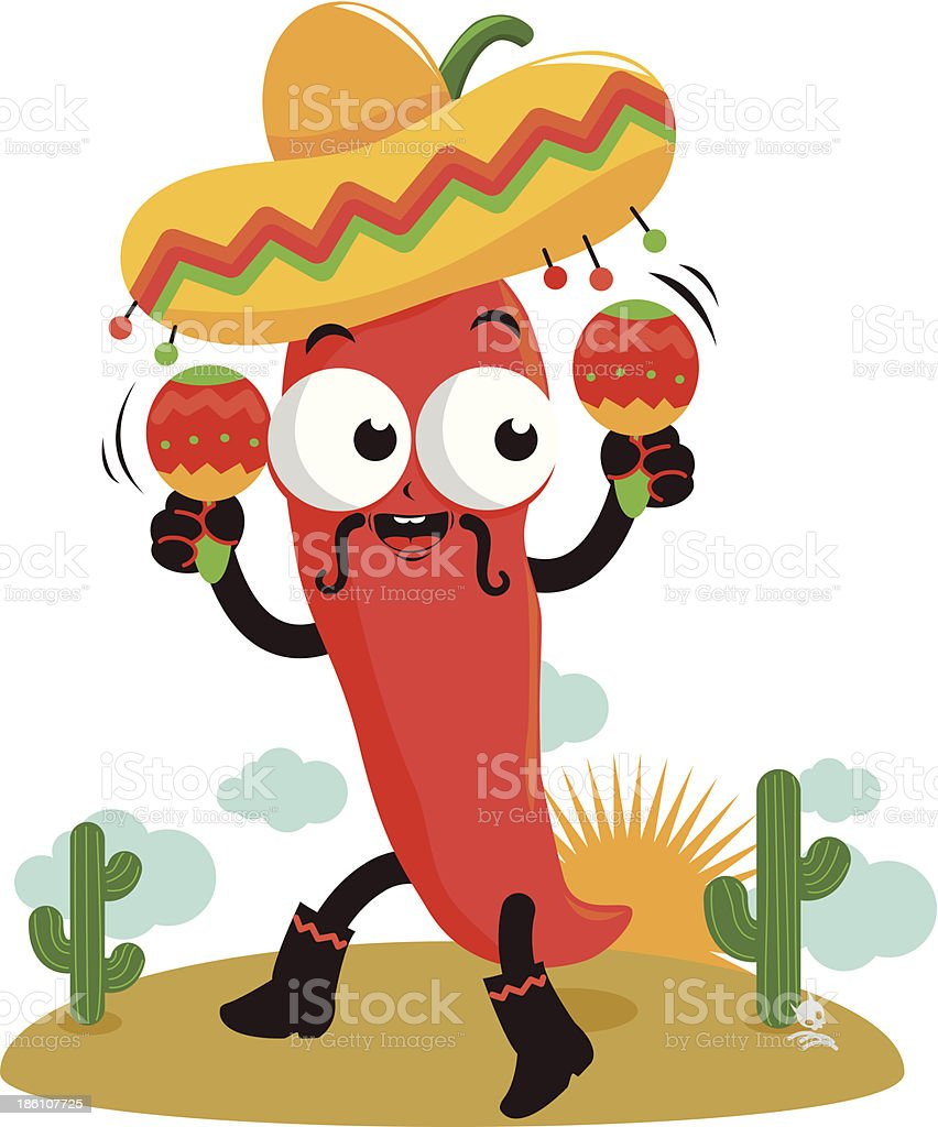 Mariachi chili pepper with maracas royalty-free stock vector art