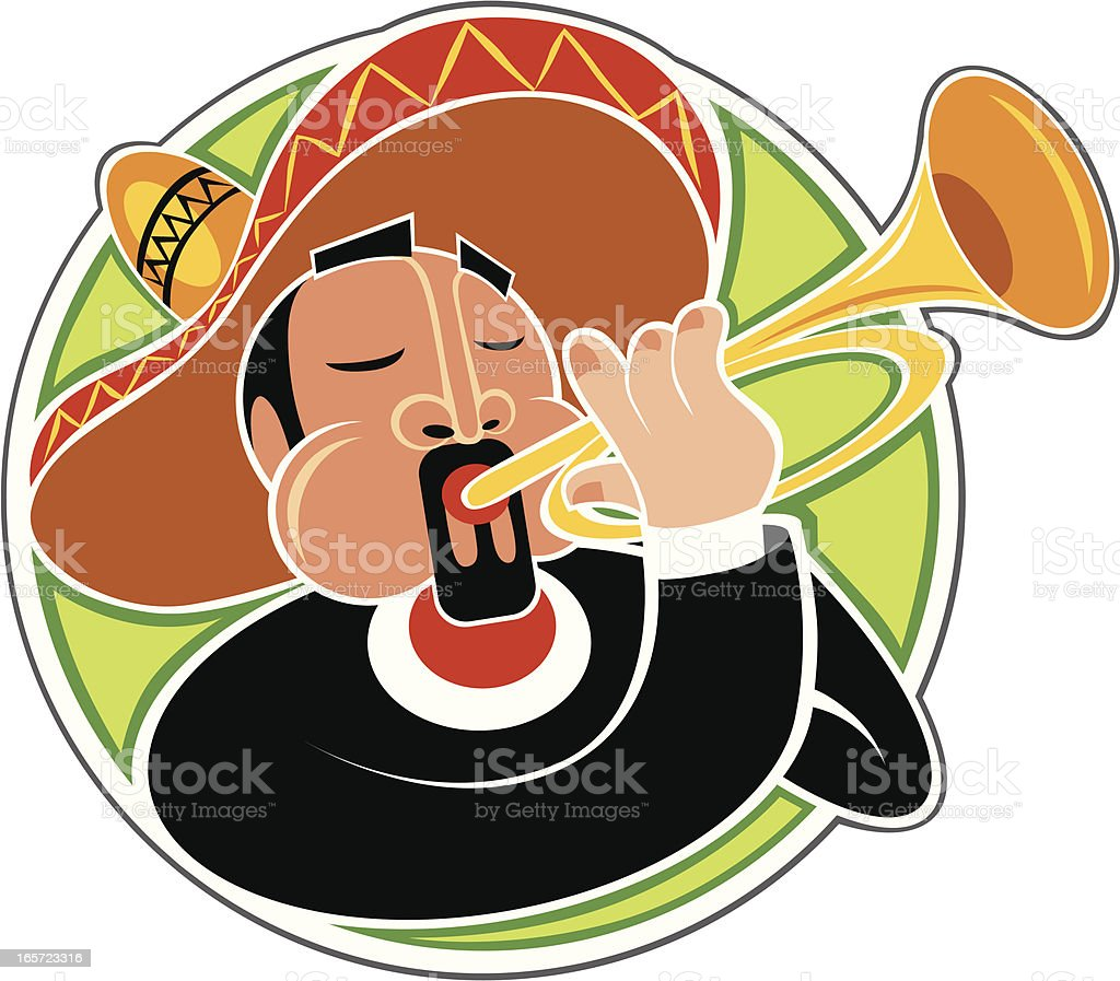 Mariachi playing horn vector art illustration