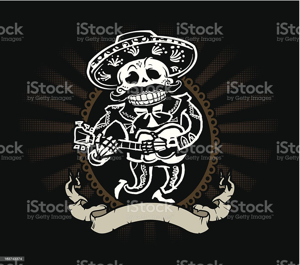 Mariachi Skeleton vector art illustration