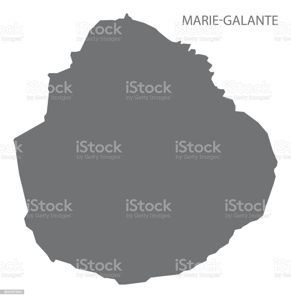 Marie-Galante Island of Guadeloupe map grey illustration silhouette vector art illustration