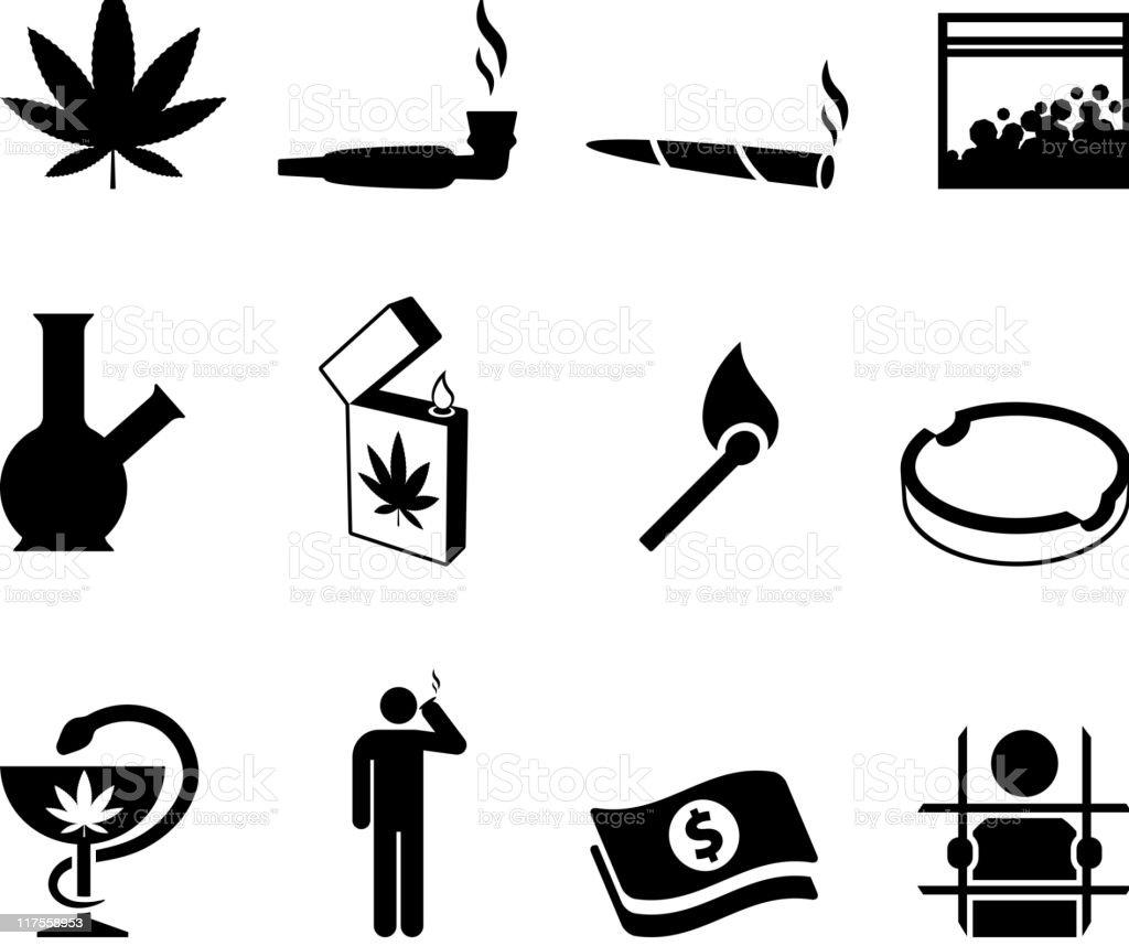 marijuana black and white icon set vector art illustration