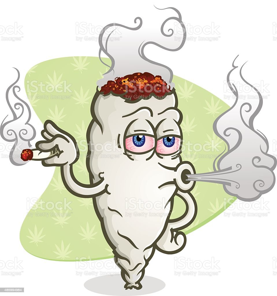 Marijuana Blowing Cannabis Smoke Cartoon Character vector art illustration