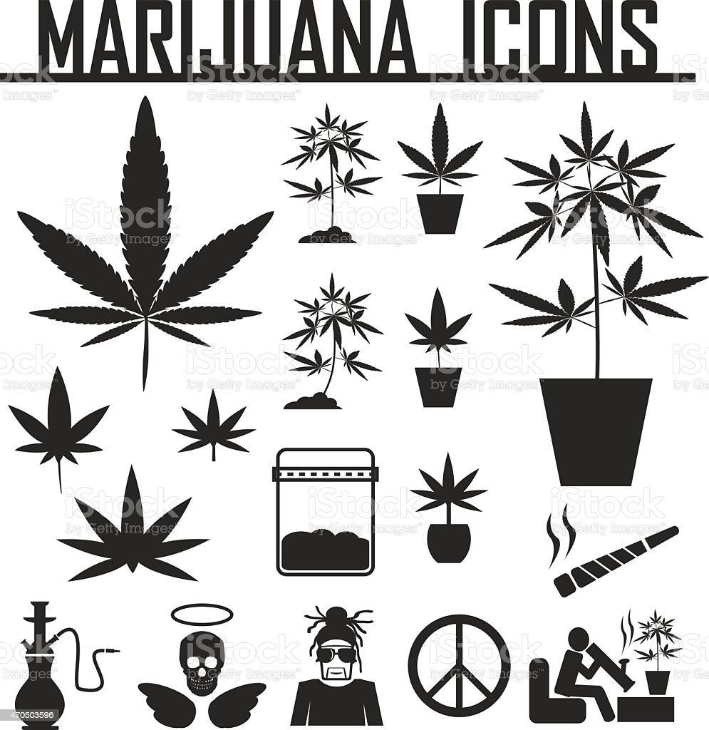 marijuana, Cannabis icons. vector illustration eps 10. vector art illustration