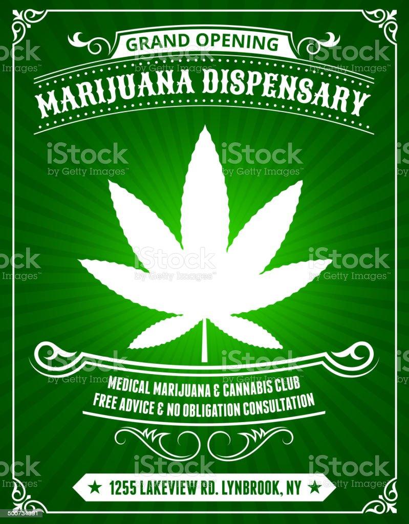Marijuana Dispensary on Green Background royalty-free stock vector art