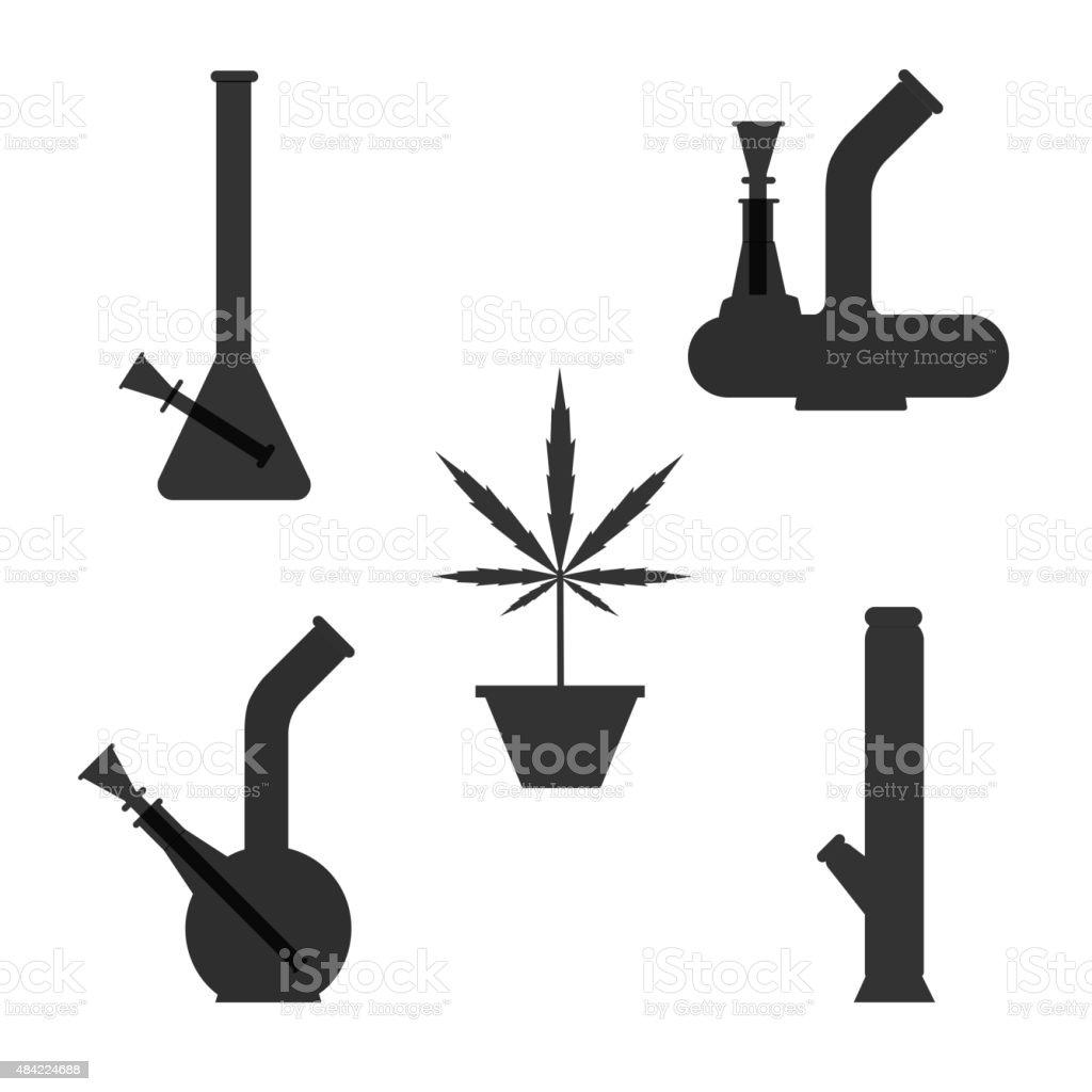 Marijuana equipment vector art illustration