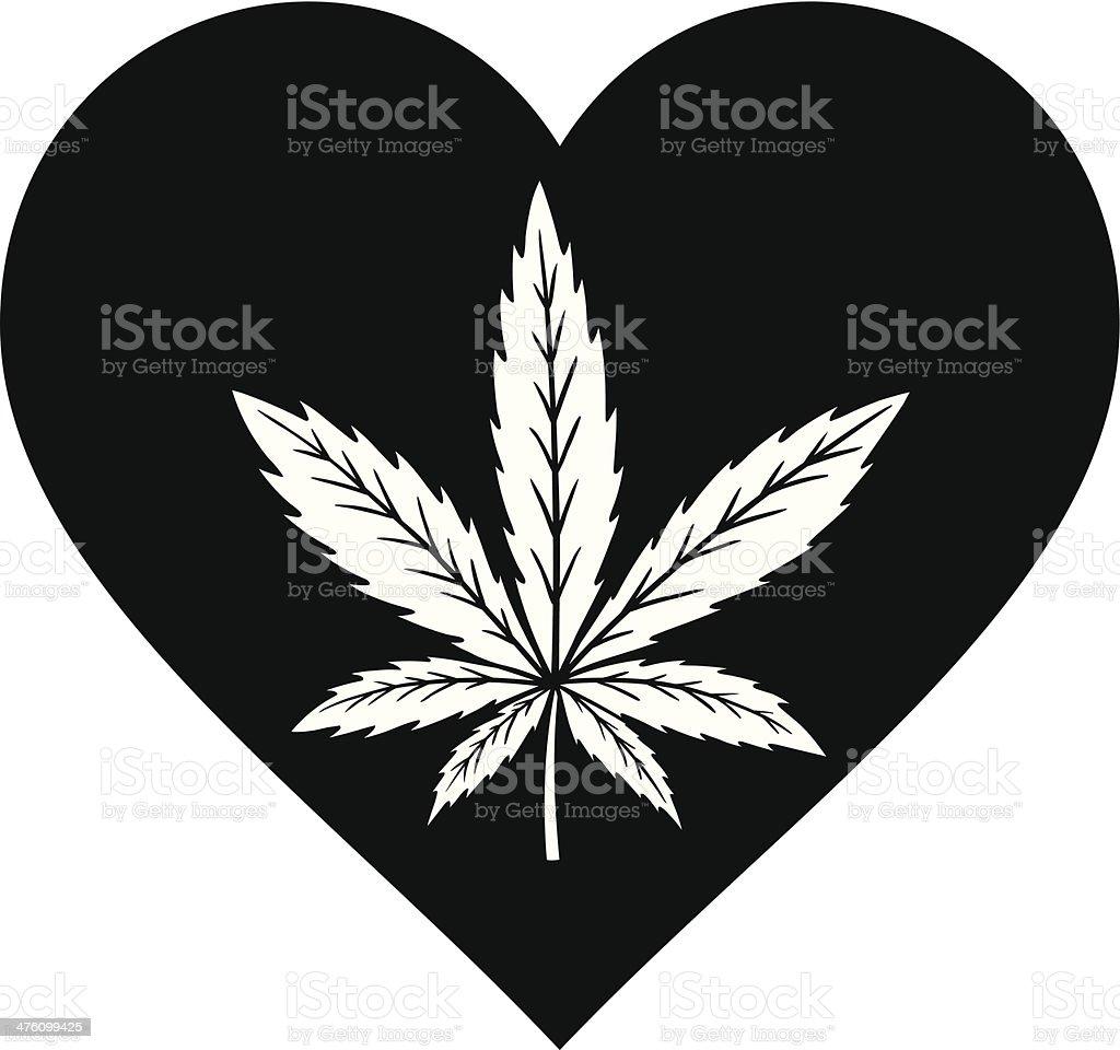 Marijuana Heart vector art illustration