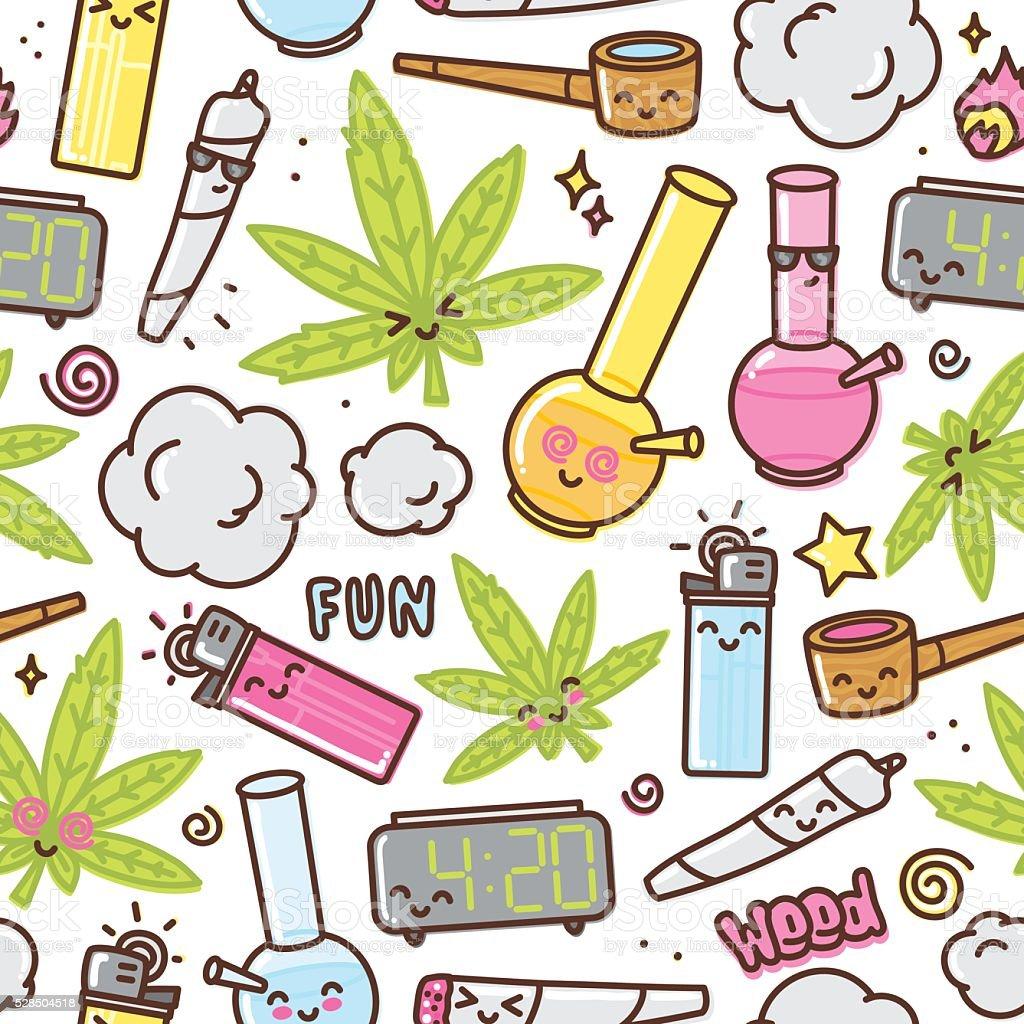 Marijuana kawaii cartoon seamless vector pattern vector art illustration