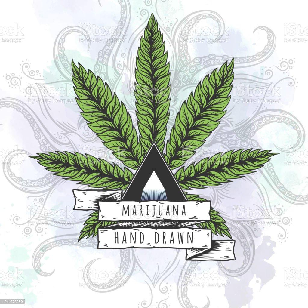 Marijuana leaf. Hand drawn isolated illustrations. vector art illustration