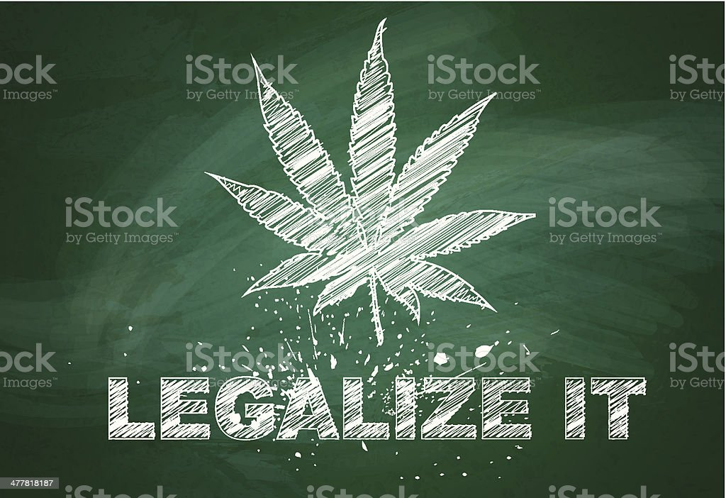 Marijuana leaf over green chalkboard royalty-free stock vector art