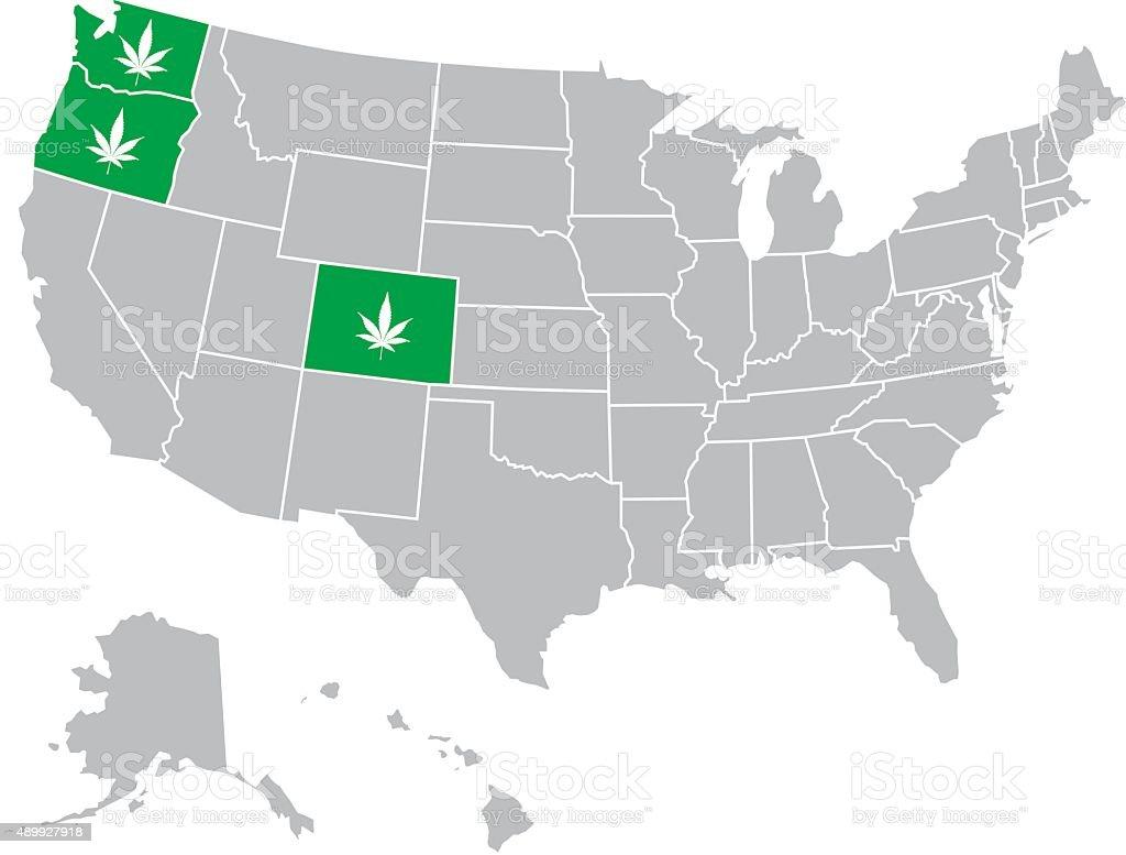 USA Marijuana Map vector art illustration
