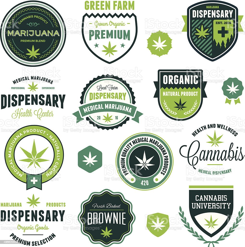 Marijuana product labels vector art illustration