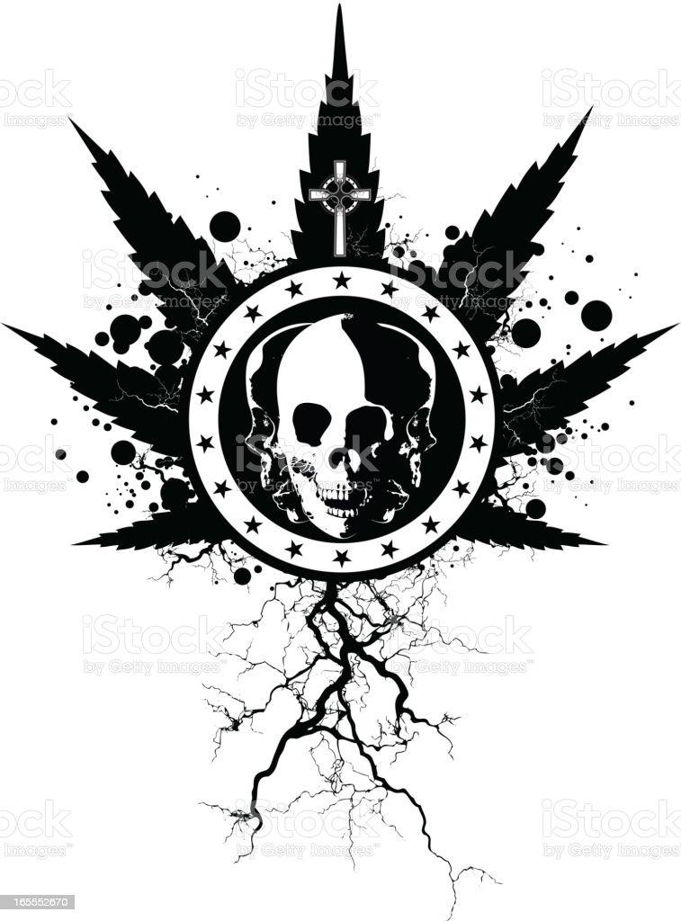 Marijuana Skull royalty-free stock vector art