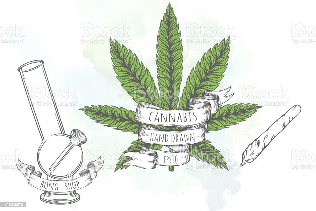 Marijuana stuff collection. vector art illustration