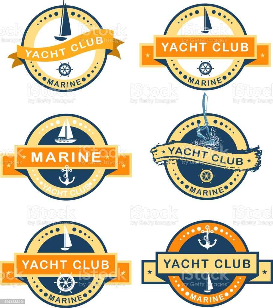 marina icons vector art illustration