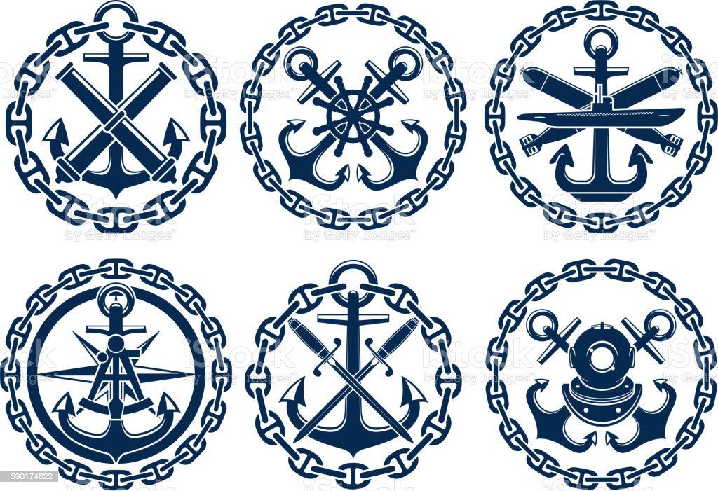 Marine and nautical emblems, icons vector art illustration