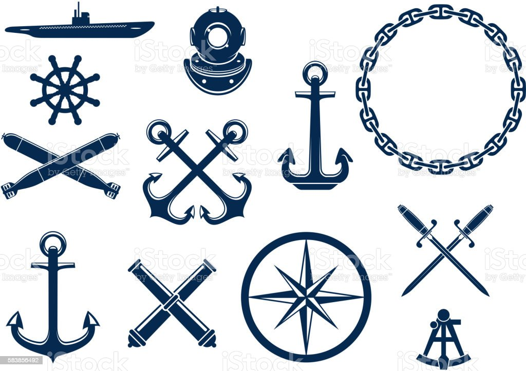 Marine and nautical icons set vector art illustration