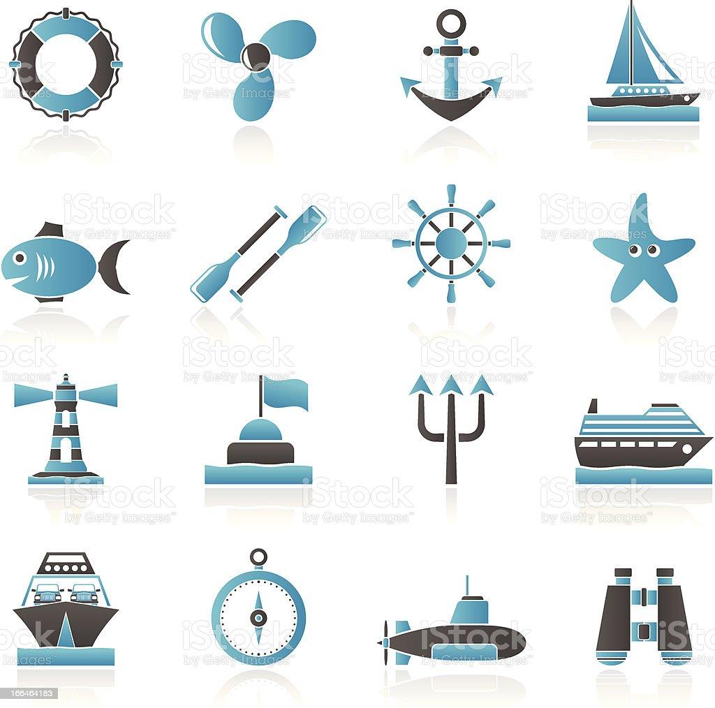 Marine and sea icons royalty-free stock vector art