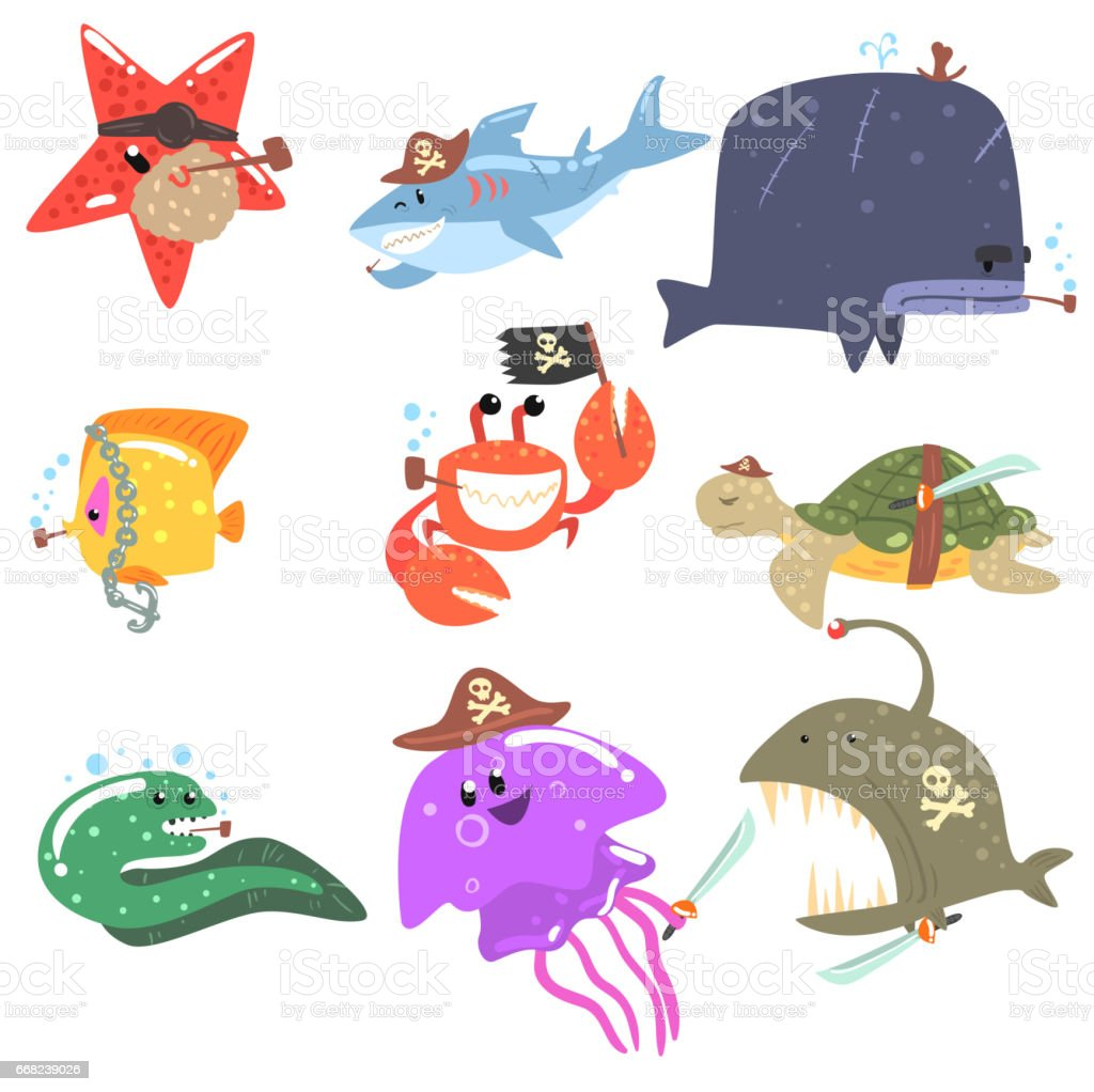 Marine Animals And Underwater Wildlife With Pirate Accessories And...