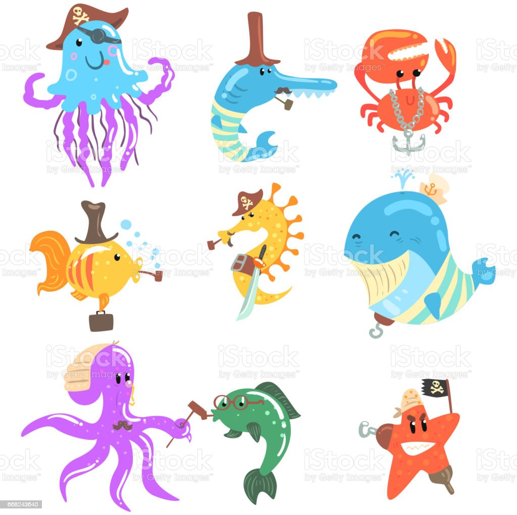 Marine Animals And Underwater Wildlife With Pirate And Sailor...